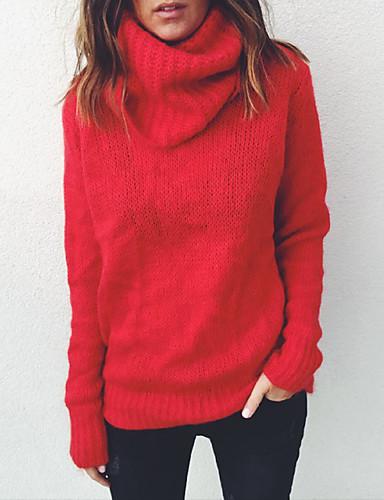 billige Dametopper-Dame Daglig Grunnleggende Ensfarget Langermet Store størrelser Normal Pullover Genserjumper, Rullekrage Høst / Vinter Svart / Rosa / Fuksia S / M / L