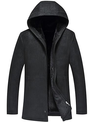 levne Pánská saka a kabáty-Pánské Denní Dlouhé Kožich, Jednobarevné Kapuce Dlouhý rukáv Jehněčí kůže Černá