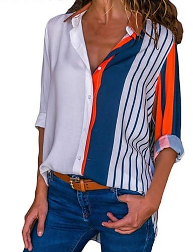 billige Dametopper-Løstsittende Skjortekrage Skjorte Dame - Fargeblokk / Regnbue Grunnleggende Blå