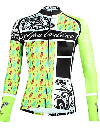 povoljno Biciklističke majice-ILPALADINO Žene Dugih rukava Biciklistička majica Mint zelena Cvjetni / Botanički Bicikl Majice Brdski biciklizam biciklom na cesti Prozračnost Quick dry Ultraviolet Resistant Sportski Zima Elastan
