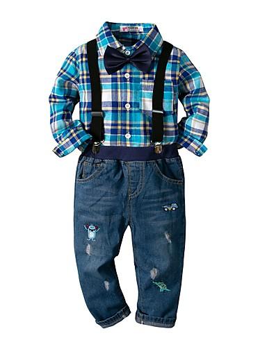 Djeca Dječaci Osnovni Print Dugih rukava Pamuk Komplet odjeće Plava