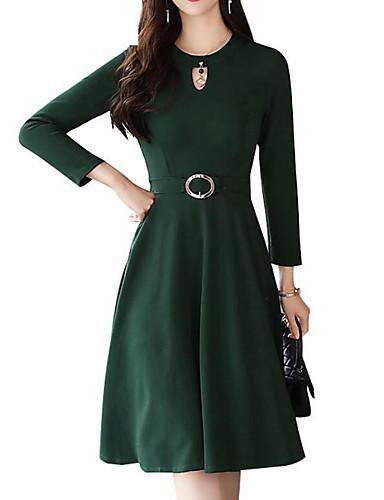3299 Diario De Las Mujeres Midi Una Línea Vestido Rosa Negro Verde M L Xl Xxl