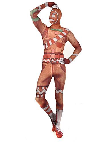 povoljno Maske i kostimi-Zentai odijela Odijelo za kožu Puno radno odijelo uz tijelo Super Heroes Čovjek medenjaka Dječji Odrasli Lycra Cosplay Nošnje Spol Muškarci Žene žuta Print Božić Halloween New Year