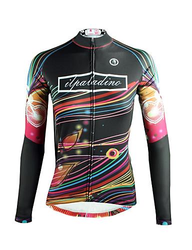 povoljno Odjeća za vožnju biciklom-ILPALADINO Žene Dugih rukava Biciklistička majica Crn Duga Bicikl Majice Prozračnost Quick dry Ultraviolet Resistant Sportski Zima Elastan Odjeća
