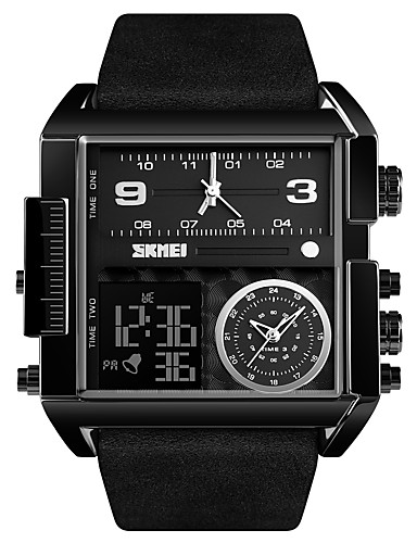 cheap Leather band Watches-SKMEI Men's Sport Watch Military Watch Digital Watch Digital Oversized Genuine Leather Black / Brown 30 m Water Resistant / Waterproof Alarm Calendar / date / day Analog - Digital Luxury Fashion fancy