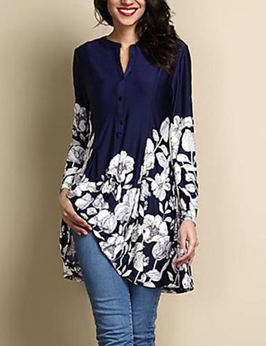 billige Bluser-Store størrelser Bluse Dame - Blomstret Navyblå