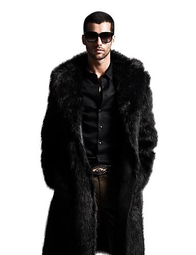 levne Kožešina a kůže-Pánské Sofistikované Zima Větší velikosti Maxi Kabát, Jednobarevné Klasické klopy Dlouhý rukáv Umělá kožešina Černá / Hnědá
