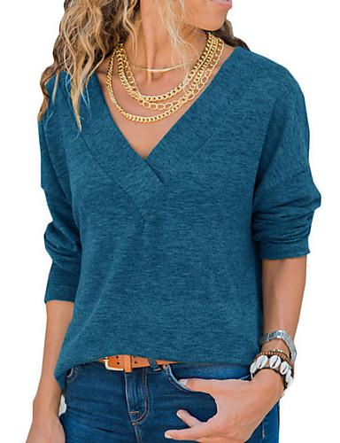 billige T-skjorter til damer-Dyp V T-skjorte Dame - Ensfarget Gatemote Dusty Rose Svart