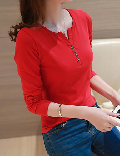 billige Dametopper-Bomull Tynn V-hals T-skjorte Dame - Ensfarget Grunnleggende Svart
