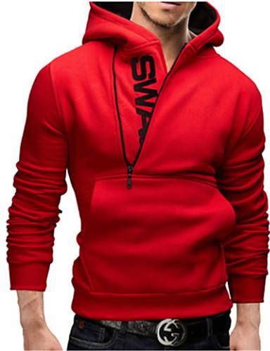 cheap Basic Hoodie Sweatshirts-Men's Daily Hoodie Solid Colored Hooded Active Hoodies Sweatshirts  Long Sleeve Black Red Light gray / Winter