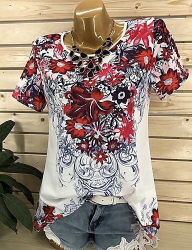 billige Topper til damer-Store størrelser T-skjorte Dame - Grafisk, Blomst / Blomster / Trykt mønster Gatemote Blå / Vår / Sommer / Høst