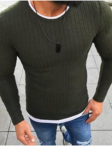 cheap Men's Sweaters & Cardigans-Men's Daily Basic Solid Colored Long Sleeve Slim Regular Pullover Sweater Jumper Black / Red / Green S / M / L