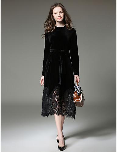 preiswerte Damenbekleidung-Damen Arbeit Anspruchsvoll Schlank Spitze Kleid - Spitze, Solide Midi