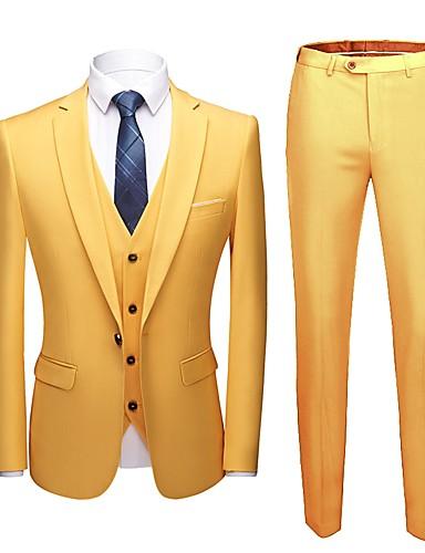 abordables Smokings & Costumes-Jaune Couleur Pleine Coupe Sur-Mesure Polyester Costume - Cranté Droit 1 bouton / costumes