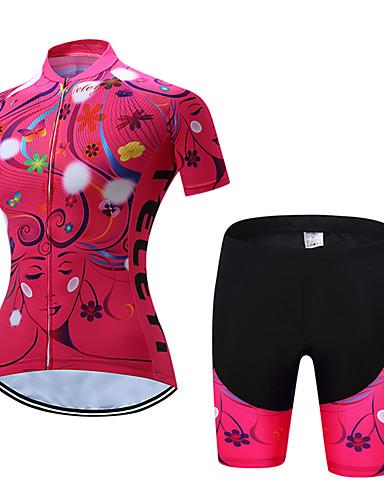 povoljno Odjeća za vožnju biciklom-TELEYI Žene Kratkih rukava Biciklistička majica s kratkim hlačama Rose Red Zelen Plava Cvjetni / Botanički Bicikl Sportska odijela Prozračnost Ovlaživanje Quick dry Sportski Poliester Cvjetni