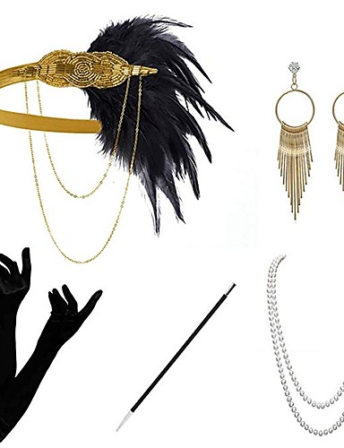 povoljno Maske i kostimi-The Great Gatsby Čarlston 1920s Gatsby Roaring 20s Setovi dodataka za kostime Rukavice Traka za kosu u stilu 20-ih Žene Rese Kostim Šeširi Naušnica Igazgyöngy nyaklánc Crn / Zlatan / Crna + Sliver