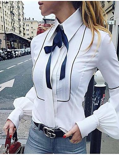 billige Skjorter til damer-Tynn Skjortekrage Skjorte Dame - Ensfarget, Sløyfe Grunnleggende Hvit / Vår / Sommer / Høst / Vinter