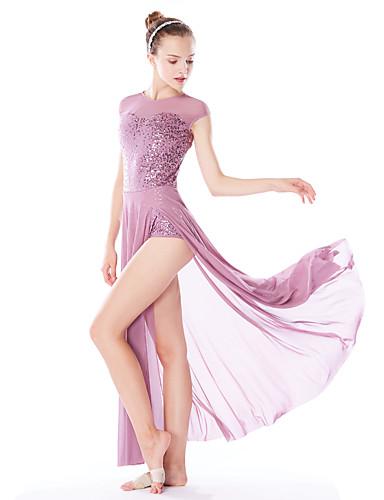 preiswerte Balletttanzkleidung-Ballett Kleider Damen Leistung Elasthan / Gitter / Lycra Kombination / Geschlitzt / Pailetten Ärmellos Hoch Haarschmuck / Kleid