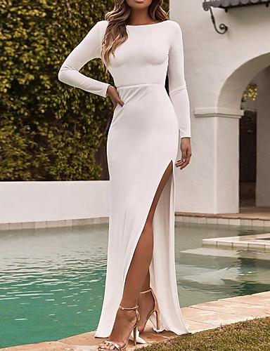 levne Maxi šaty-Dámské Párty Sexy Bavlna Štíhlý Pouzdro Šaty - Jednobarevné, Volná záda Rozparek Maxi
