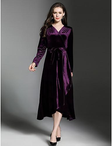 preiswerte Damenbekleidung-Damen Street Schick Samt Swing Kleid Solide Midi V-Ausschnitt