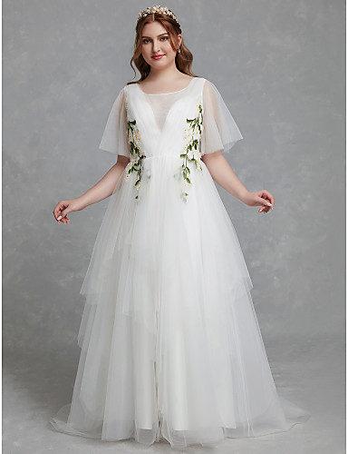 2ca17aba4ba Plus Size A-Line Jewel Neck Sweep   Brush Train Tulle Made-To-Measure  Wedding Dresses with Lace by LAN TING BRIDE®   Illusion Sleeve   Beautiful  Back ...