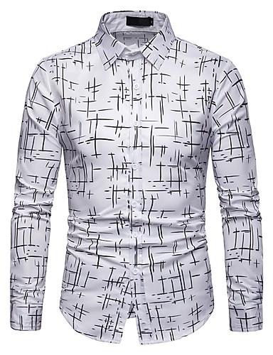 povoljno Bijele košulje-Muškarci Dnevno Majica Geometrijski oblici Dugih rukava Slim Tops Obala Crn Navy Plava