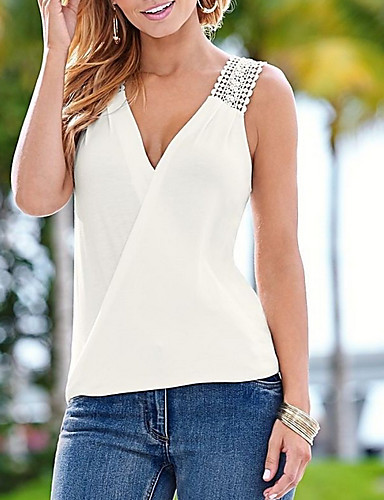 1ec4640ce0315 Women's Street chic Tank Top - Solid Colored Lace / Backless V Neck White S  / Sexy 7071495 2019 – $11.03