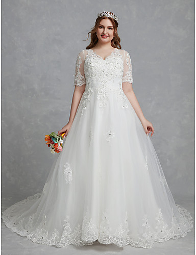 719758d3820 Plus Size A-Line V Neck Court Train Lace   Tulle Made-To-Measure Wedding  Dresses with Crystals   Lace by LAN TING BRIDE®   Beautiful Back 7006837  2019 – ...