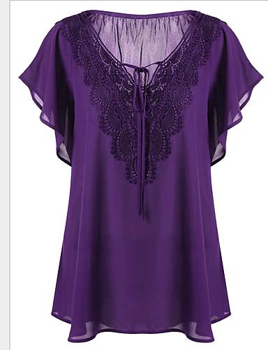 billige Dametopper-Tynn V-hals Store størrelser T-skjorte Dame - Ensfarget Grunnleggende Gul