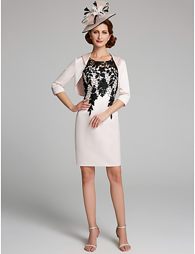 voordelige Wrap Dresses-Strak / kolom Met sieraad Kort / Mini Kant / Satijn Bruidsmoederjurken met door LAN TING BRIDE®