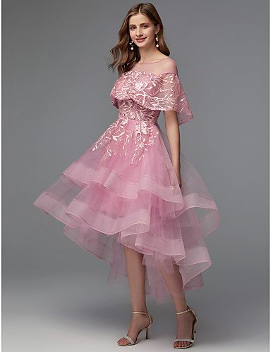 cheap Cocktail Dresses-Back To School A-Line Elegant High Low Holiday Cocktail Party Prom Dress Illusion Neck Sleeveless Asymmetrical Lace Tulle with Lace Insert 2020 Hoco Dress