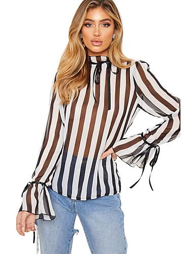 billige Dametopper-Crew-hals Skjorte Dame - Stripet Gatemote Svart
