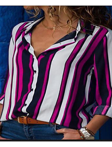 billige Skjorter til damer-Bomull Skjortekrage Skjorte Dame - Stripet Lilla