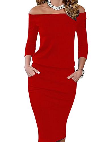 preiswerte Alles unter €12.57-Damen Party Ausgehen Bodycon Kleid Solide Knielang Schulterfrei Rot / Schlank