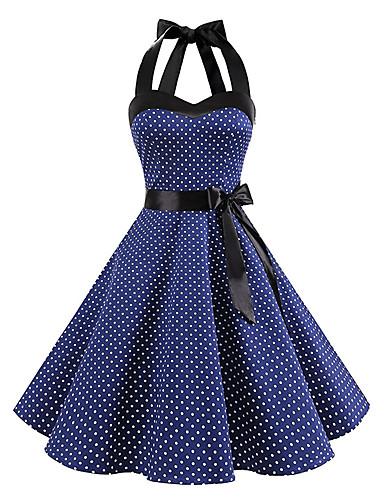 cheap Historical & Vintage Costumes-Audrey Hepburn Polka Dots Retro Vintage 1950s Summer Dress Women's Costume Black / White / Ink Blue Vintage Cosplay Homecoming Sleeveless Knee Length