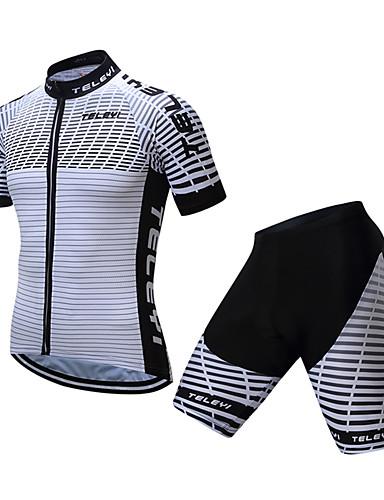 povoljno Odjeća za vožnju biciklom-TELEYI Muškarci Kratkih rukava Biciklistička majica s kratkim hlačama Crno bijela  / Zebra Bicikl Sportska odijela Ovlaživanje Quick dry Sportski Coolmax® Zebra Brdski biciklizam biciklom na cesti
