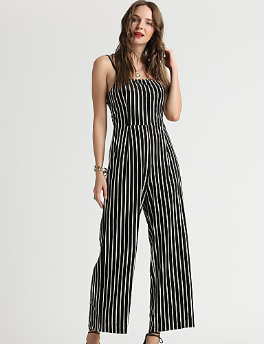 599861e981fca0 Suzanne Betro Women s Daily   Going out Basic Strap Black Wide Leg Slim  Jumpsuit