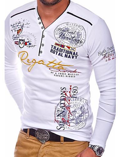 voordelige Heren T-shirts & tanktops-Heren Standaard T-shirt Letter Ronde hals Wit / Lange mouw