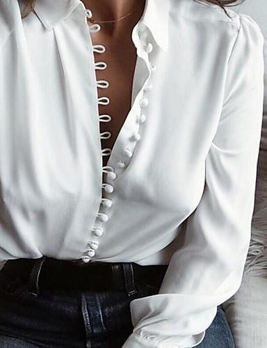 halpa Naisten yläosat-Naisten V kaula-aukko Ohut Puuvilla nappi Yhtenäinen Perus Paita Musta