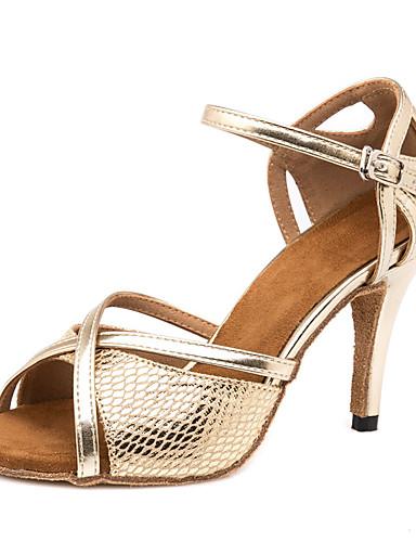 povoljno Cipele za ples-Žene Plesne cipele PU Cipele za latino plesove Isprepleteni dijelovi Sandale / Tenisice Tanka visoka peta Moguće personalizirati Zlato / Seksi blagdanski kostimi / Koža