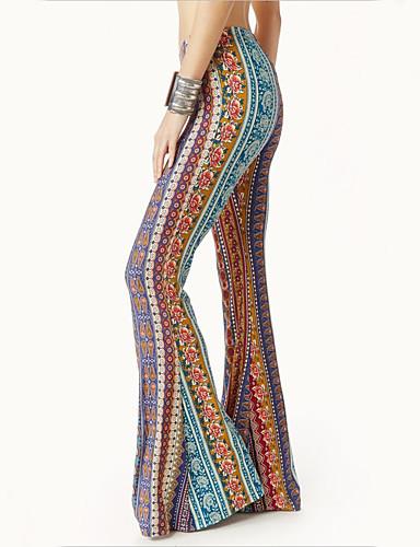 cheap Cosplay & Costumes-Hippie Disco Retro Vintage 1960s Hippie 1970s Disco Pants Women's Cotton Costume Print / Yellow / Ink Blue Vintage Cosplay