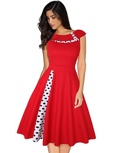 cheap Historical & Vintage Costumes-Audrey Hepburn Country Girl Polka Dots Retro Vintage 1950s Dress Women's Costume Black / Red / Blue Vintage Cosplay Short Sleeve Knee Length