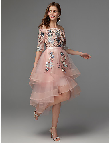 cheap Homecoming Dresses-Back To School A-Line Floral Pink Wedding Guest Cocktail Party Dress Off Shoulder Half Sleeve Asymmetrical Satin Tulle with Embroidery Appliques 2020 Hoco Dress