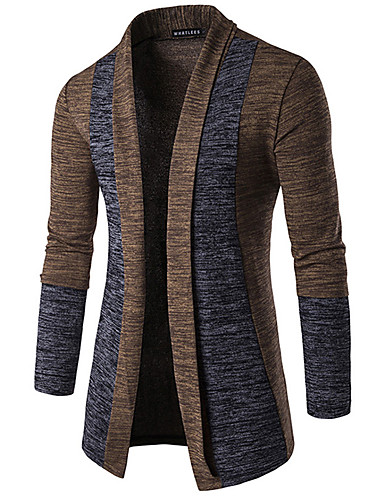 cheap Men's Sweaters & Cardigans-Men's Daily Basic Patchwork Color Block Long Sleeve Butterfly Sleeves Slim Regular Cardigan Sweater Jumper Spring / Fall / Winter Camel / Dark Gray / Gray M / L / XL