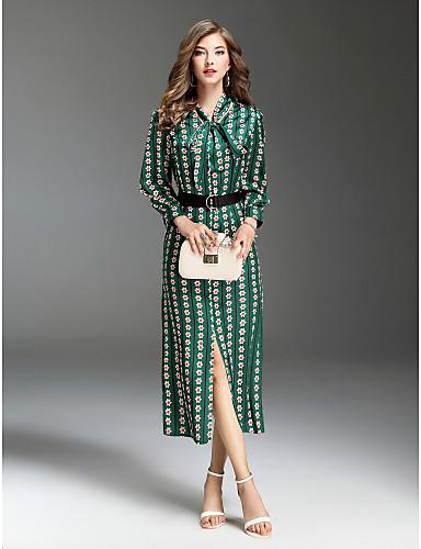 preiswerte Kleider-Damen Ausgehen Street Schick Schlank Swing Kleid - Druck, Mehrfarbig Midi Hemdkragen