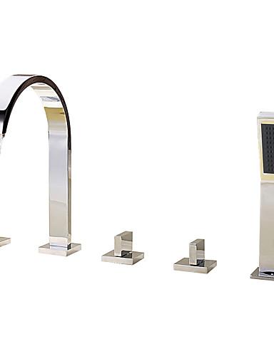 preiswerte Romanische Wanne-Badewannenarmaturen - Moderne Chrom Romanische Wanne Keramisches Ventil Bath Shower Mixer Taps / Messing / Drei Griffe Fünf Löcher