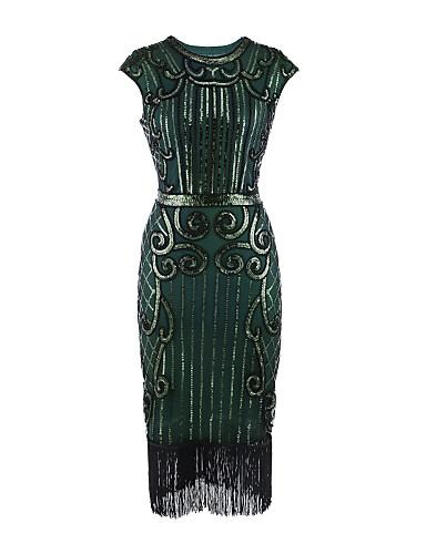 preiswerte Kleider für besondere Anlässe-Eng anliegend Schmuck Tee-Länge Satin Cocktailparty Kleid mit Paillette / Plissee durch TS Couture®