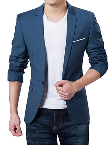 cheap Suit-Men's V Neck Blazer Regular Solid Colored Daily Work Plus Size Spring Fall Long Sleeve Wine / Black / Dark Blue M / L / XL / Business Formal / Slim