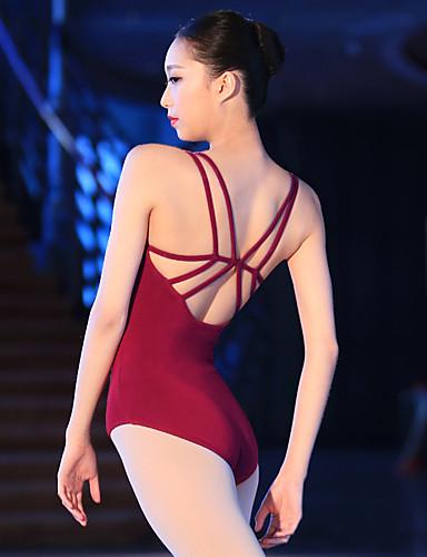 billige Ballettantrekk-Ballet Trikot / Heldraktskostymer Kryssdrapering Dame Trening Ytelse Ermeløs Elastan Lycra