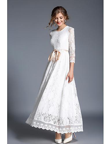 preiswerte Weiße Partykleider-A-Linie Schmuck Knöchel-Länge Spitze Kleid mit Schärpe / Band durch LAN TING Express